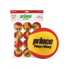 Prince Play & Stay Red Foam Mini Balls Stage 3 (2 tone) - 12 Pack