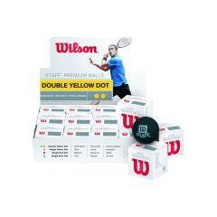 Wilson Staff Squash Balls Double Yellow Dozen Box
